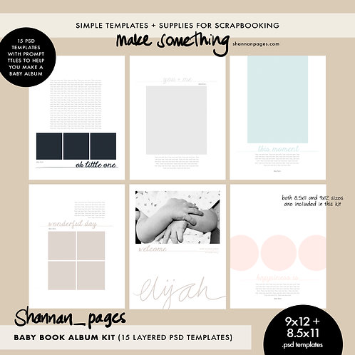 Baby Book 9x12 + 8.5x11 Template Set (15 layered PSD templates in both sizes)