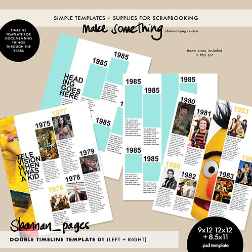 Double Timeline Template (2 page PSD template in 12x12, 9x12 and 8.5x11)