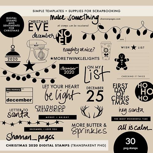 December/Christmas 2020 Digital Stamps (30 transparent PNG stamps)