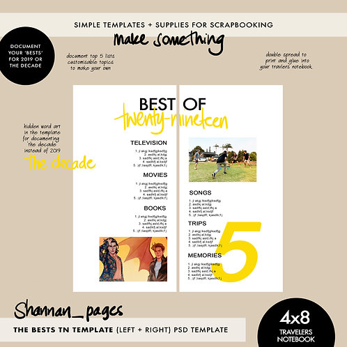 'Best Of' Travelers Notebook Page Template (4x8 double page spread)