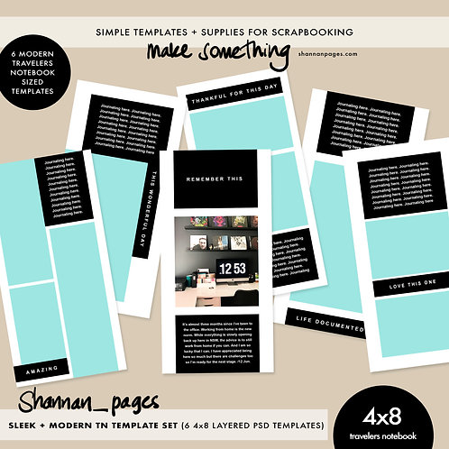 Sleek + Modern Travelers Notebook Templates (6 4x8 PSD layered templates)