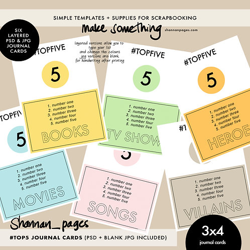 #Top5 Journal Cards (6 cards in JPG and layered PSD formats)