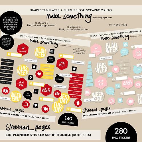 The Big Planner Sticker Set Bundle (both colour versions) 275 png stickers!
