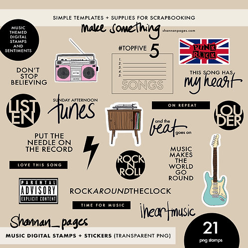 Music Digital Stamps and Stickers (21 transparent PNG  format files)