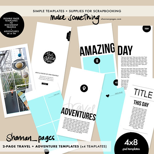 Travel & Adventure 2-Page Spread Templates (4) 4x8 Travelers Notebook size