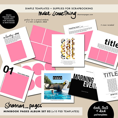 Mini Book Pages Album Set 02 (x10 PSD templates in 4x4, 5x5 and 6x6)