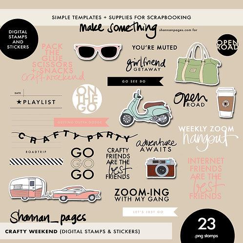 Crafty Weekend Digital Stamps & Stickers (23 PNG digital files)