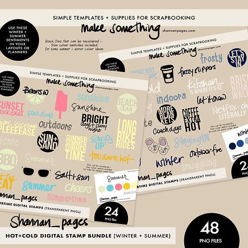 Hot+Cold Digital Stamp BUNDLE - Summer & Winter Digital Stamps (48 PNG Stamps)
