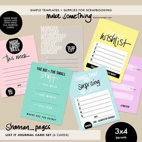 List It Journal Cards x 6 (3x4 JPG cards)