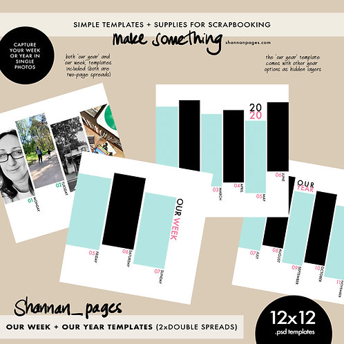 Our Week + Our Year Two-Page Spread Templates (12x12 PSD templates)