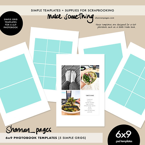 6x9 Grid Template Set (x5 PSD templates for use in a 6x9 photobook)