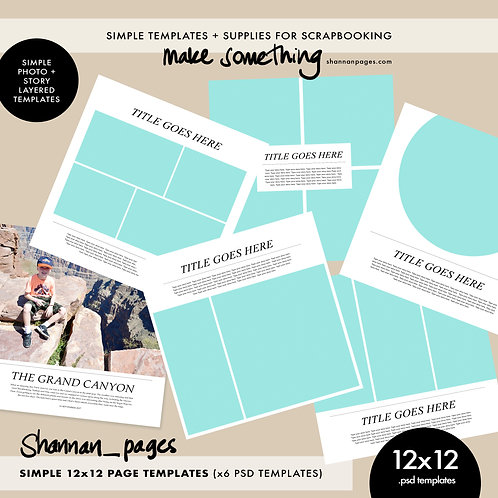 Simple 12x12 Pages Templates (x6 PSD templates)