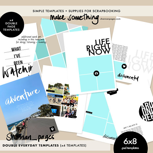 Everyday 2-Page Spread Templates (4) 6x8