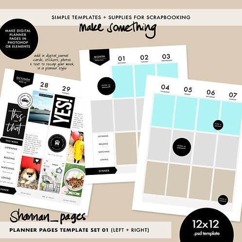 Planner Template - Double Spread (12x12)
