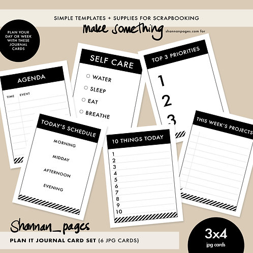 Plan It Journal Card Set x 6 - 3x4 Journal Cards
