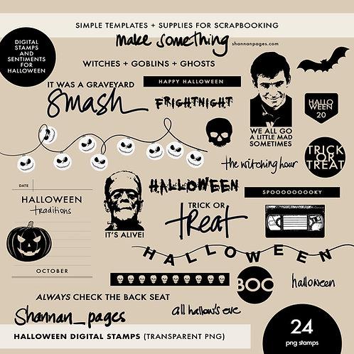 Halloween Digital Stamps (24 transparent png files)