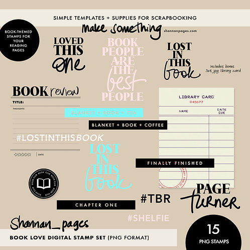 Book Love Digital Stamp Set (15 png format stamps plus bonus jpg card)