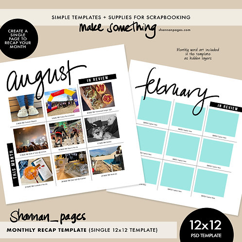 Monthly Recap Template - 12x12 (single page template)