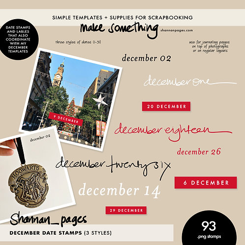 December Date Stamps (3 styles of png stamps December 1-31)