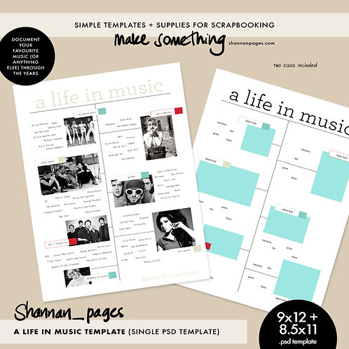 A Life In Music (single PSD template in 8.5x11 and 9x12 sizes)