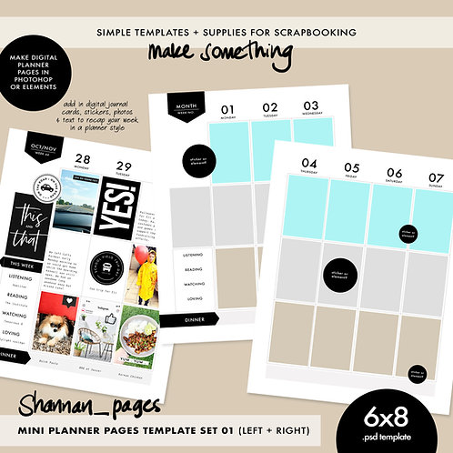Mini Planner Template - Double Spread (6x8)