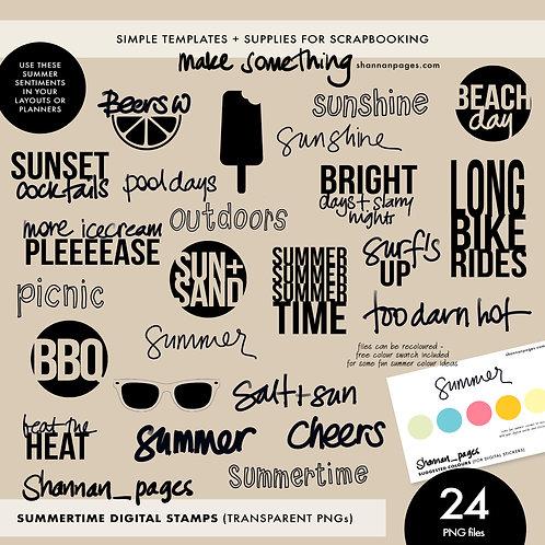 Summertime Digital Stamp Set (24 PNG stamps)