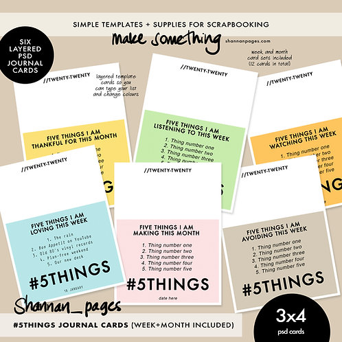 #5Things Journal Cards - 3x4 layered psd files (both week & month format)