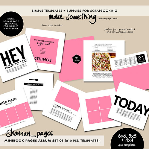 Mini Book Pages Album Set 01 (x10 PSD templates in 4x4, 5x5 and 6x6)