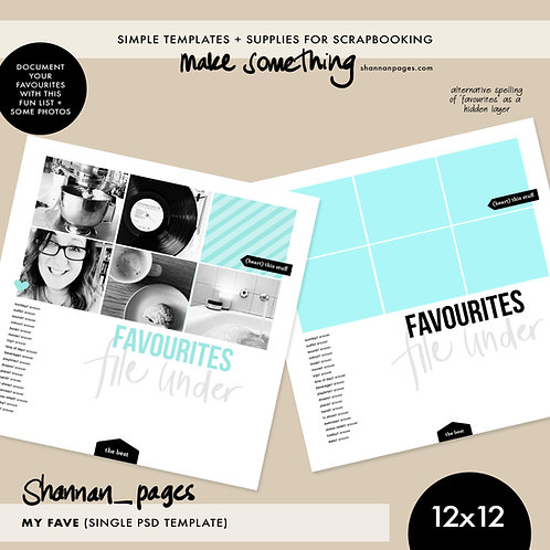 'File Under Favourites' Single Page Template (12x12 size)