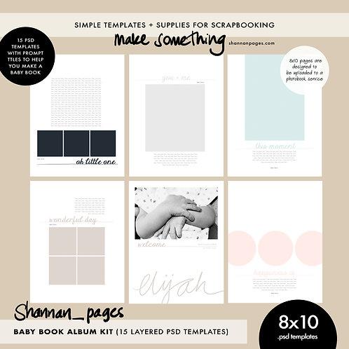Baby Book 8x10 Template Set (15 layered PSD templates)