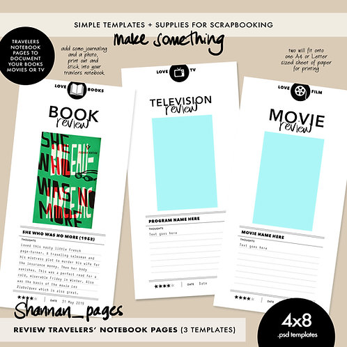 Review Travelers' Notebook Page Templates (x3) – 4x8