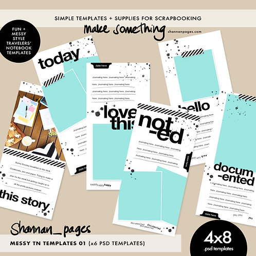 Messy Travelers' Notebook Templates (x6 4x8 layered PSD templates)