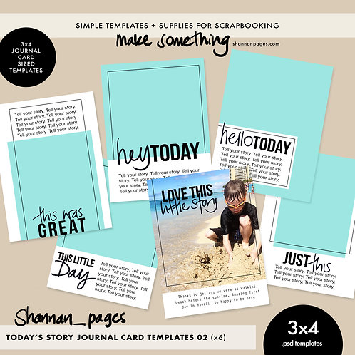 Today's Story 02 3x4 Journal Card Templates x 6 (3x4 PSD templates)