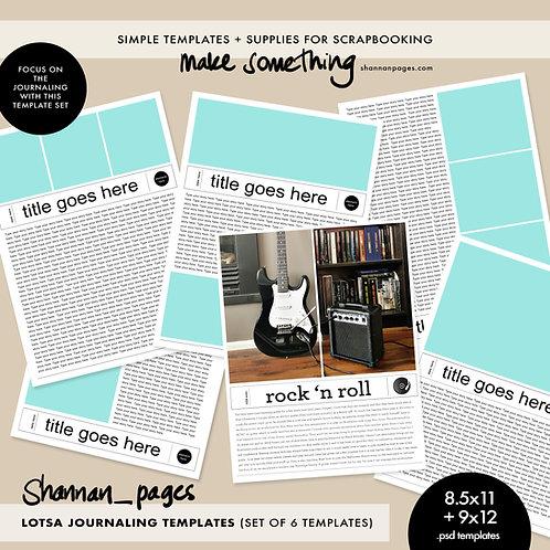 Lotsa Journaling Templates x 6 (8.5x11 and 9x12 PSD templates)