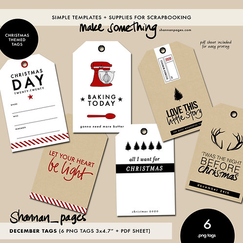 """December Tags (6 x 3x4.7"""" png tags + PDF for easy printing)"""