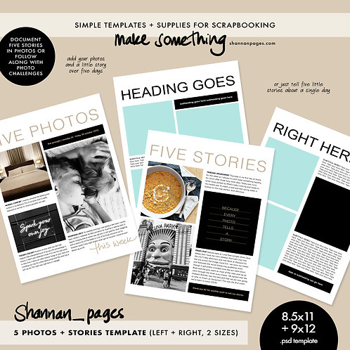 5 Photos + Stories 2-page Template (8.5x11 and 9x12 sizes, psd format)