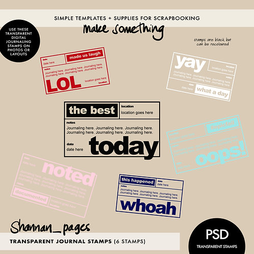 Transparent Digital Journaling Stamps (PSD layered format)