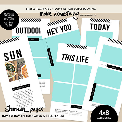 Day-To-Day Travelers Notebook Templates x6 (4x8)