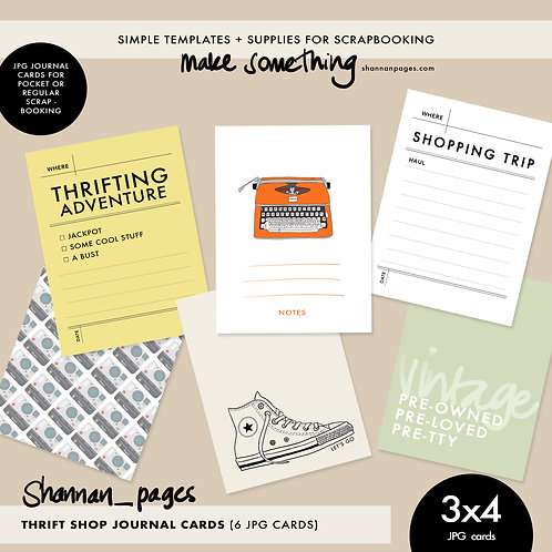 Thrift Shop Journal Cards (6 3x4 jpg cards)