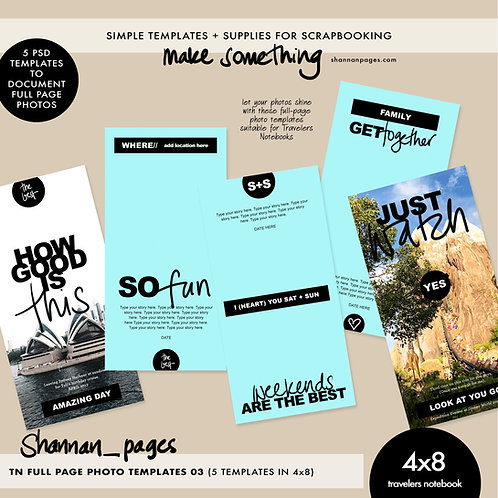 Full Page Photo Templates (No. 3) - Travelers Notebook 4x8