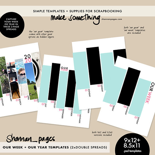 Our Week + Our Year Two-Page Spread PSD Templates (9x12 and 8.5x11 sizes)