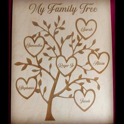 Family tree on wood