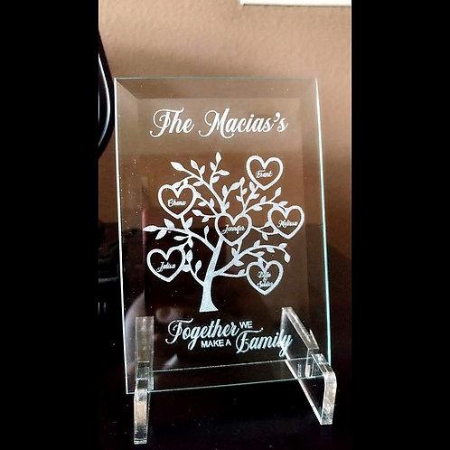 Family tree on Beveled Glass