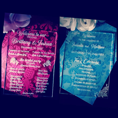 Wedding Programs (Acrylic)