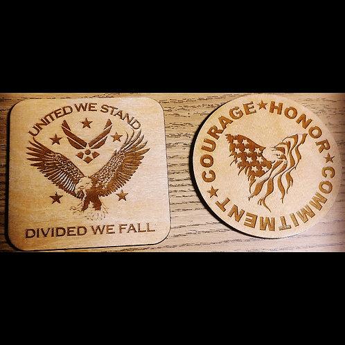 Veteran Inspired Wood Coasters (Set of 4)