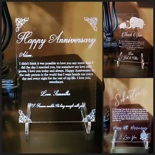 """Acrylic """"Thank you"""", """"Note"""", or """"Anniversary"""" cards/plaque"""