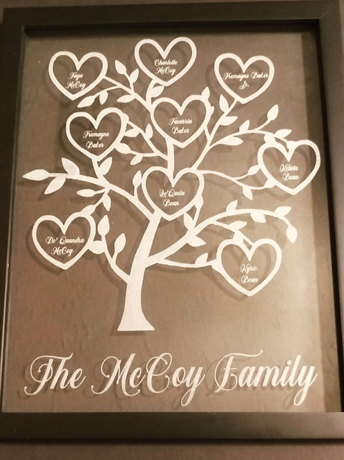 Glass Family tree with black frame