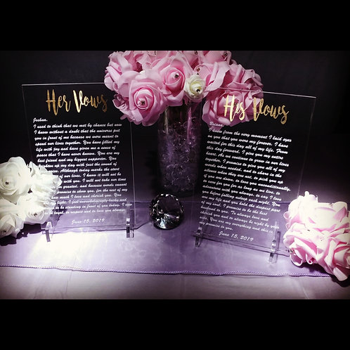 Acrylic Wedding Vows Set