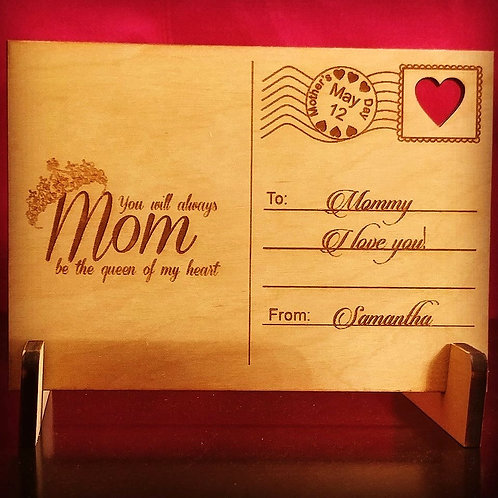 Mothers Day Wooden Post Card