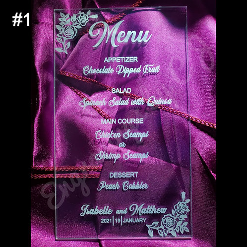 Acrylic Menus Engraved Only